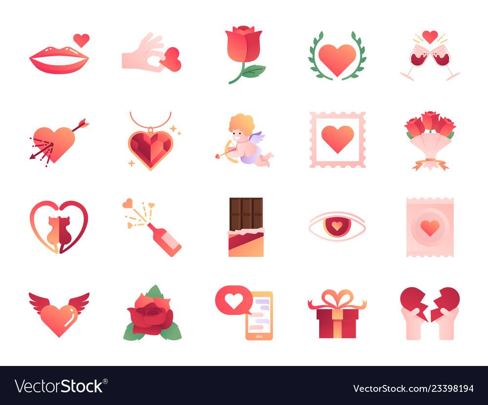 Valentine day colors icon set