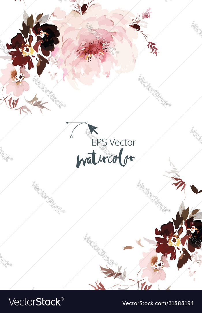 Watercolor card with flowers on a white background