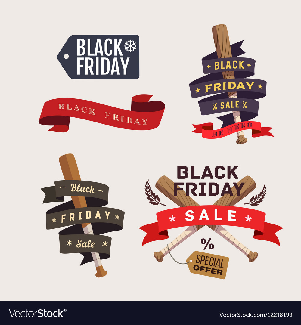 Black Friday shopping labels vector image