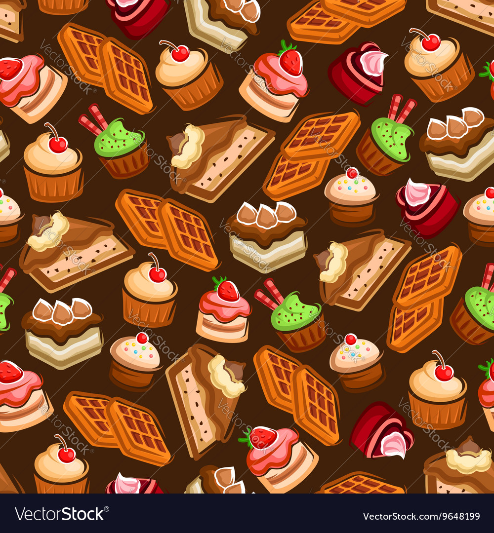 Cakes cupcakes and waffles seamless pattern