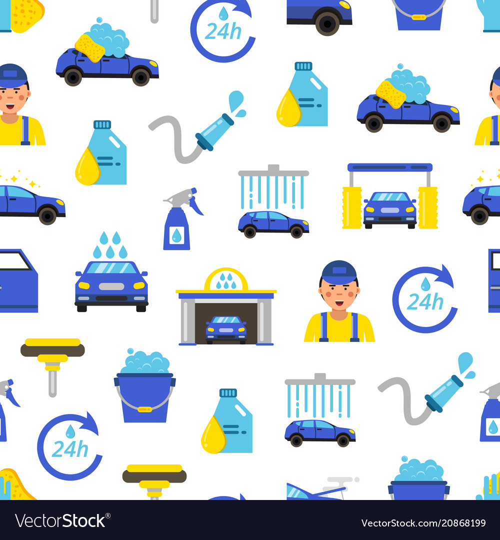 Car Wash Flat Icons Pattern Or Background Vector Image