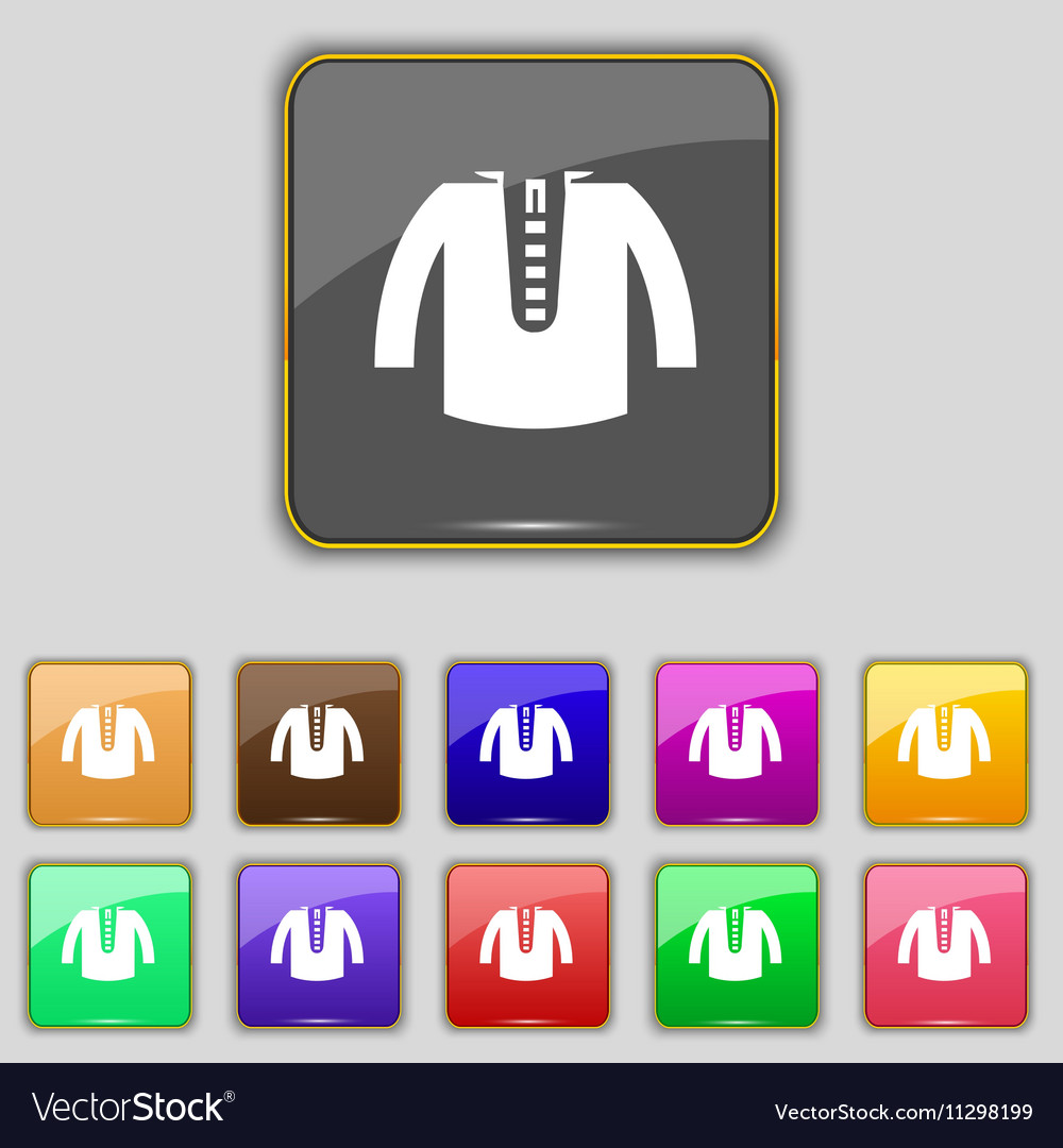 Casual jacket icon sign Set with eleven colored vector image