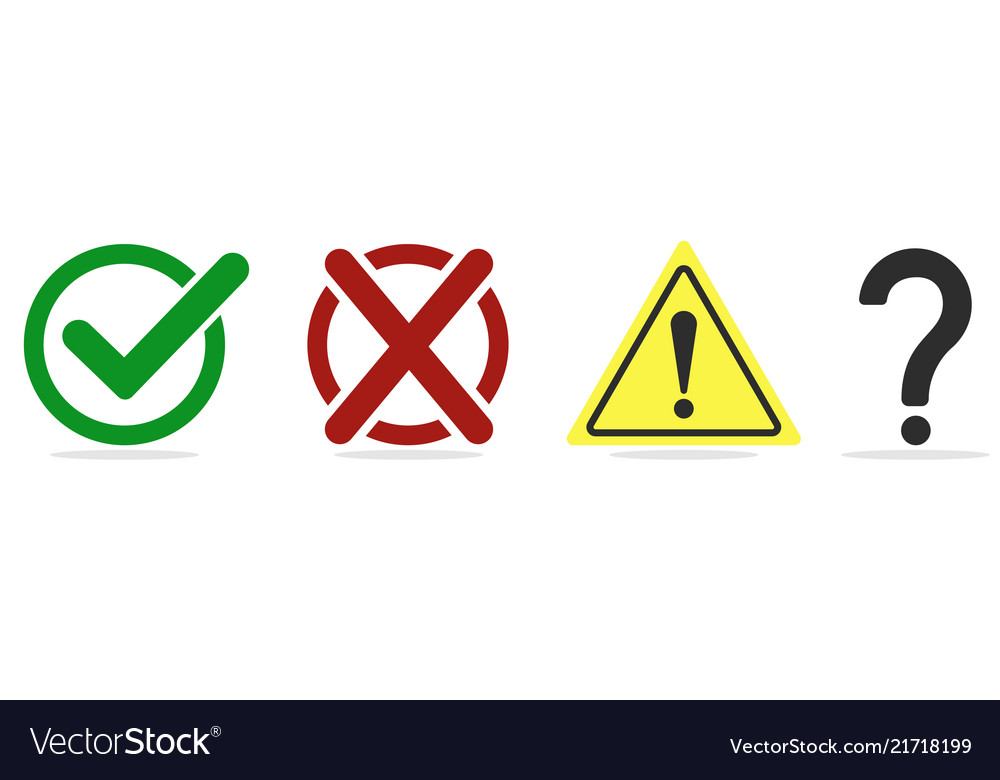 Character set check mark cross exclamation mark