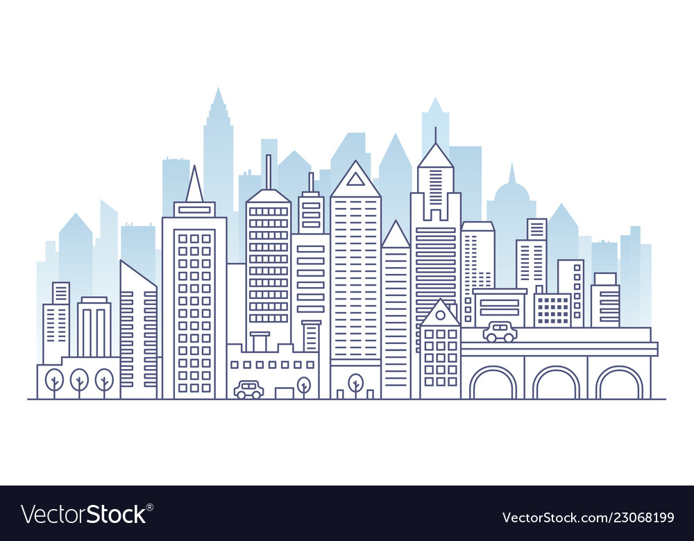City landscape line panorama template with flat