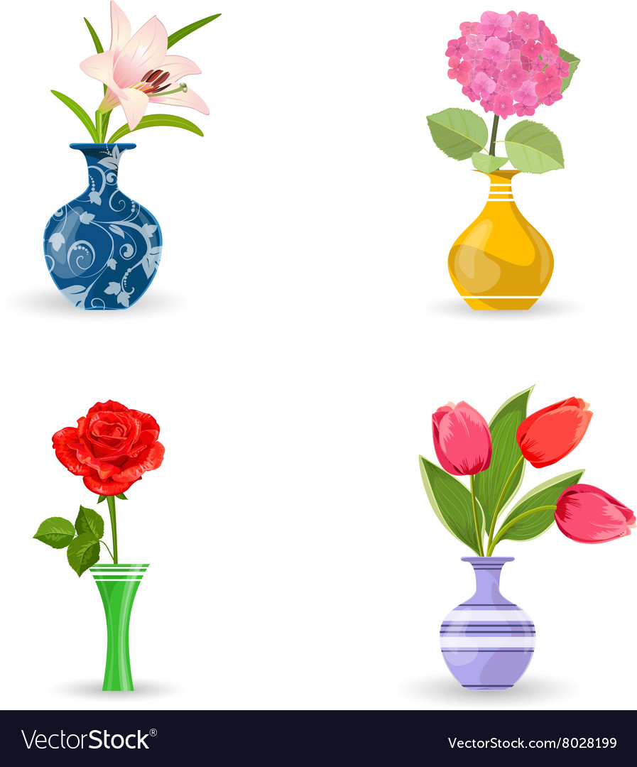 Collection of modern vases with beautiful flowers vector image izmirmasajfo