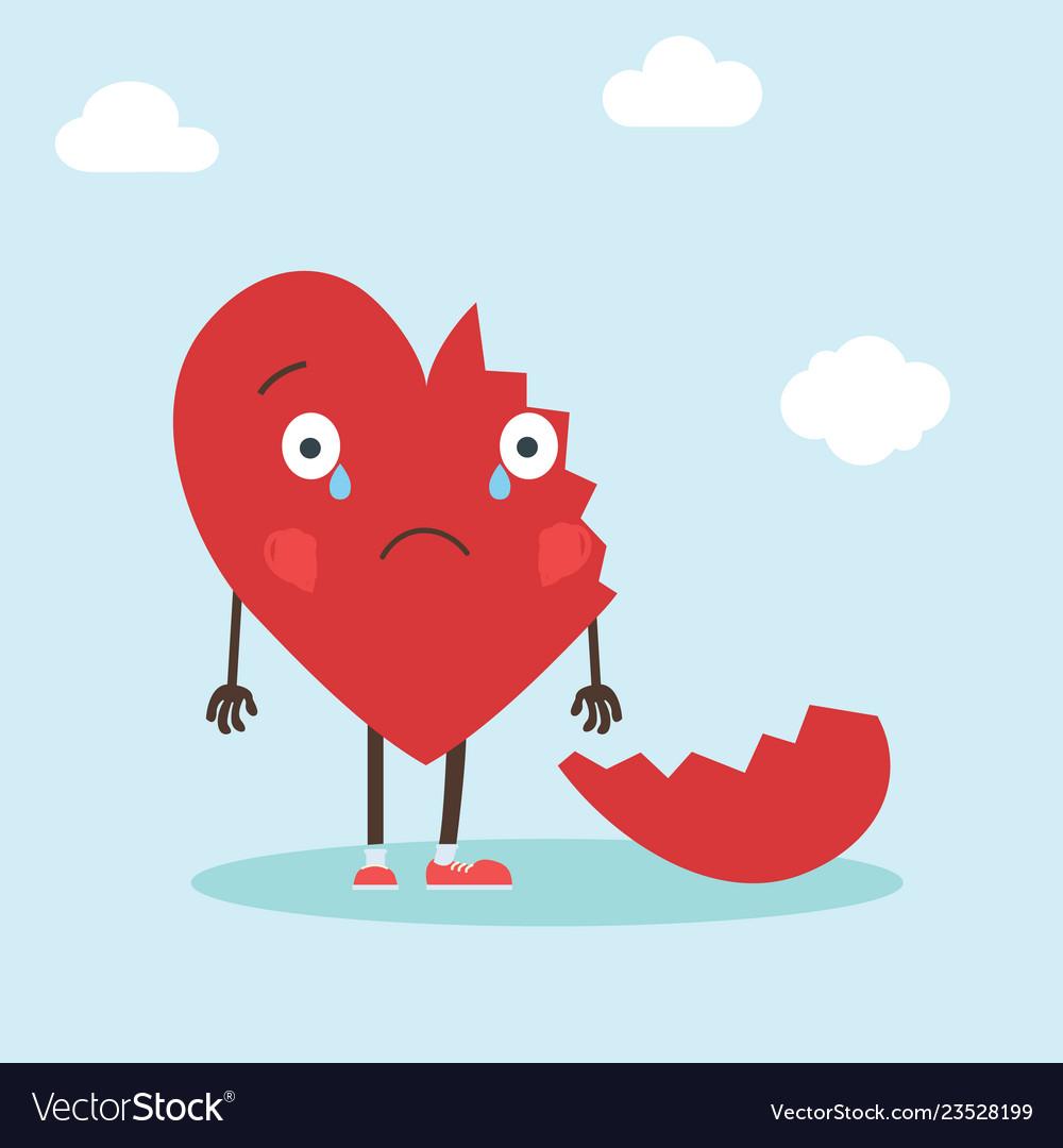 Cute single heart character with broken heart