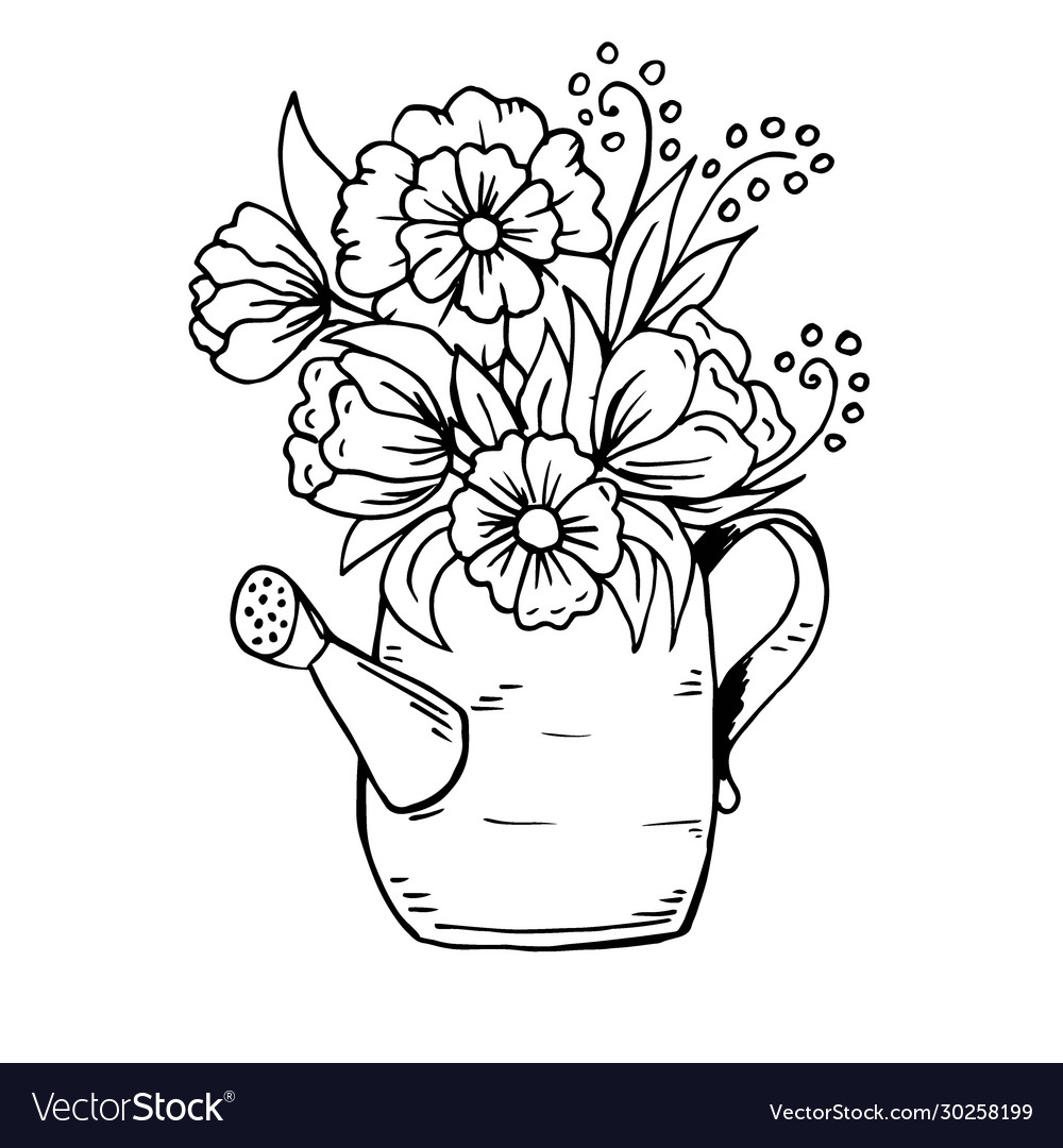 Doodle cartoon watering can with flowers