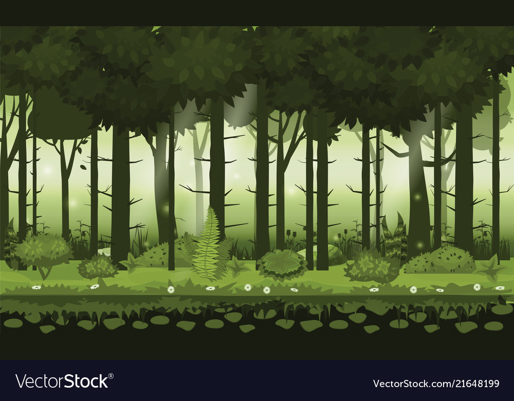 Fairy forest bright forest woods silhouttes