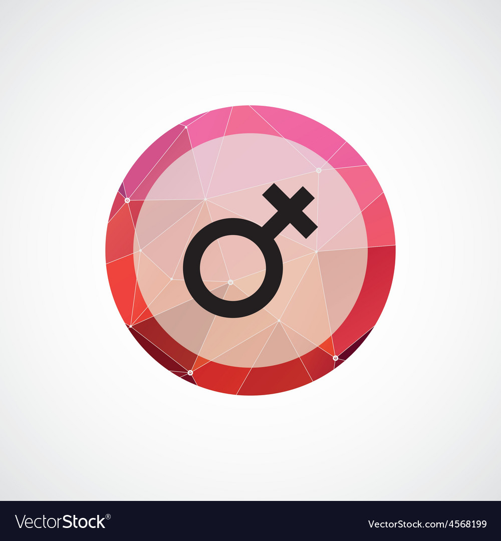 Female symbol circle pink triangle background icon vector image
