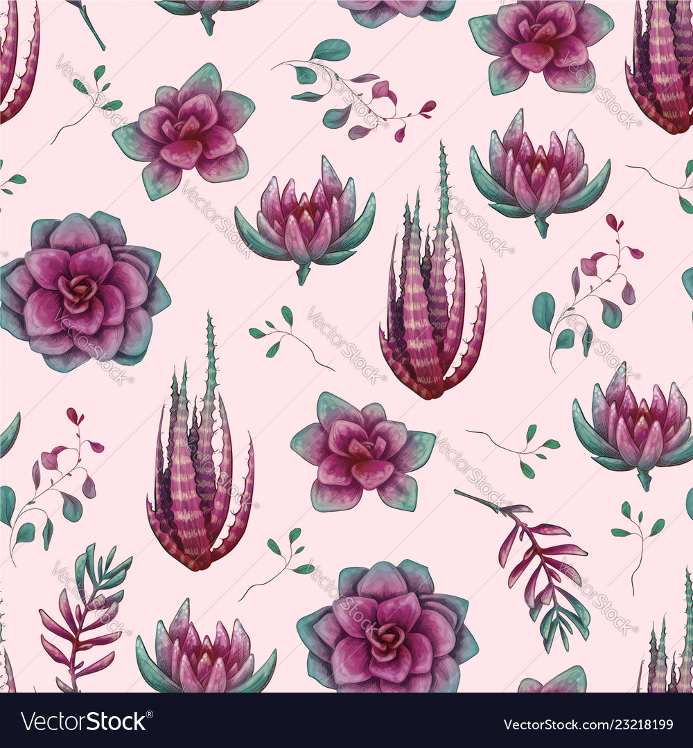 Hand drawn decorative seamless pattern with cacti