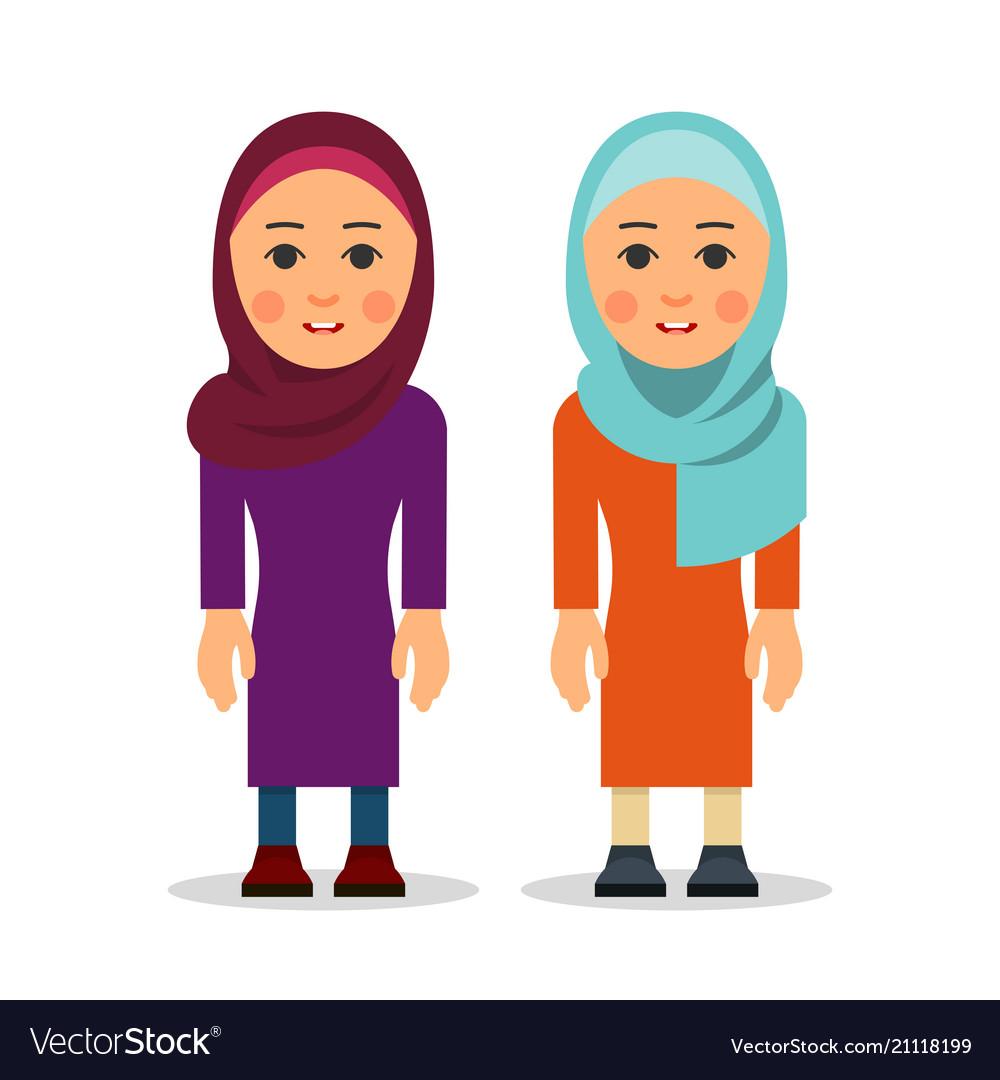 Muslim woman or arab woman cartoon character