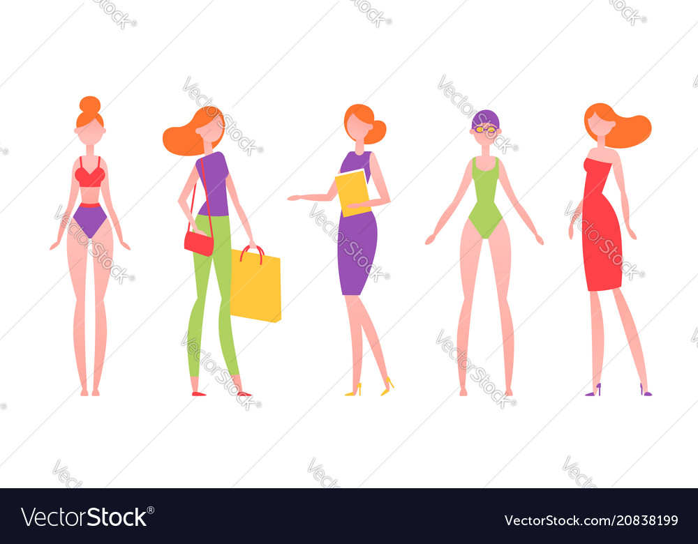 Red-haired woman in different styles of clothes