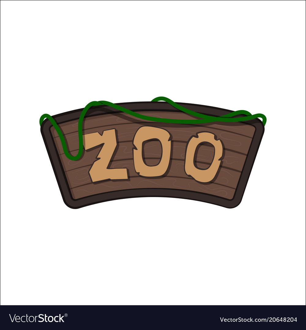 Board of zoo in cartoon style animals park