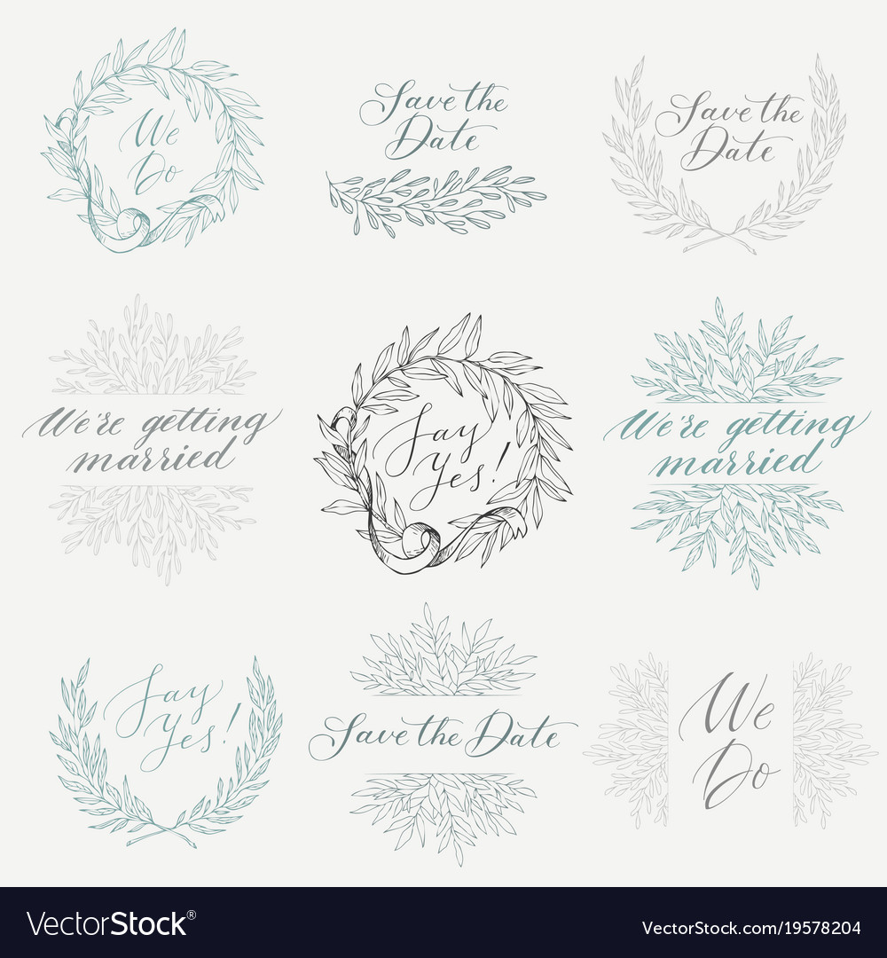 Collection of hand drawn design elements