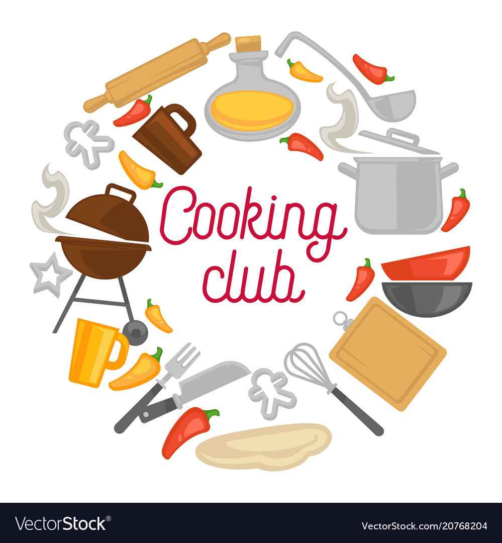 Cooking Club Chef Kitchenware Icons Poster Vector Image