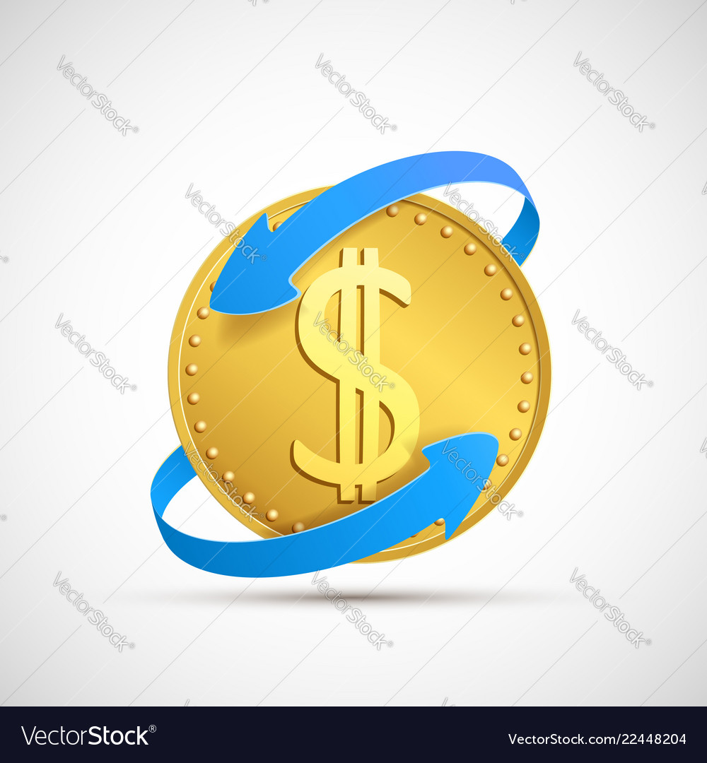 Dollar currency sign on golden coin