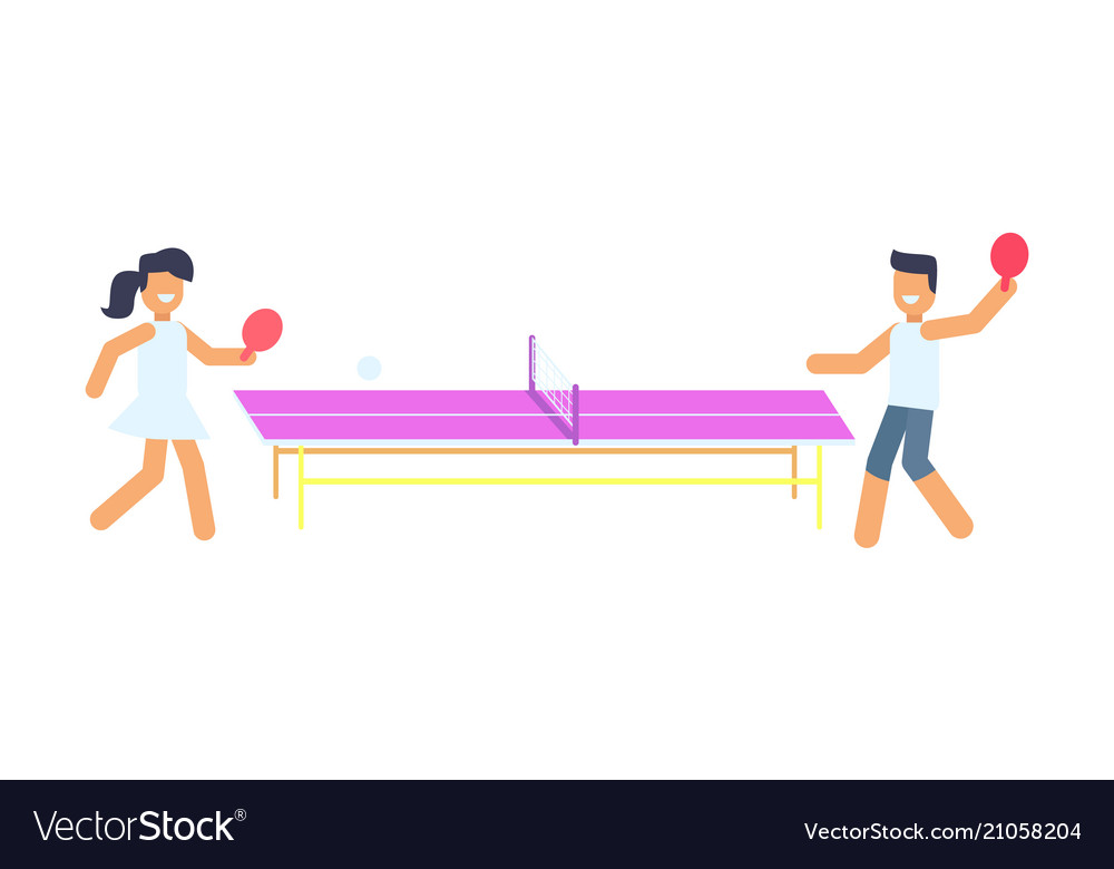 Joyful man and woman that are playing small tennis