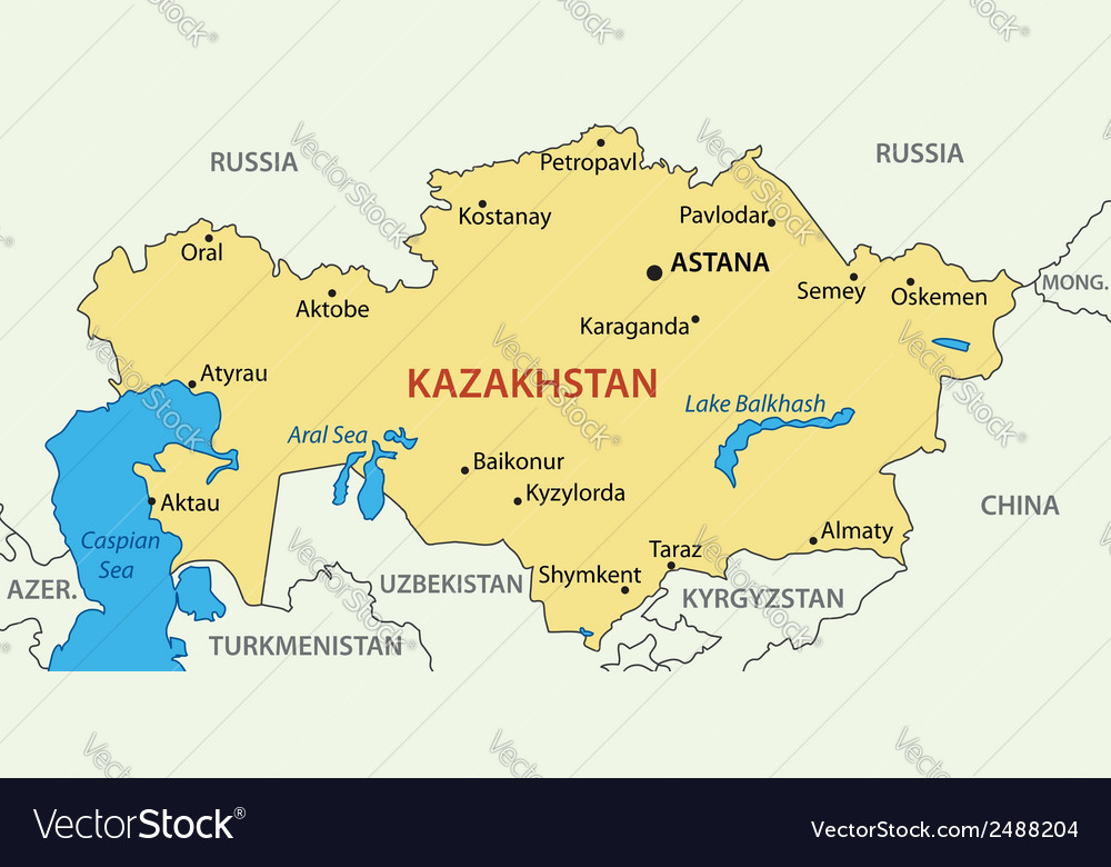 Republic of Kazakhstan - map Royalty Free Vector Image