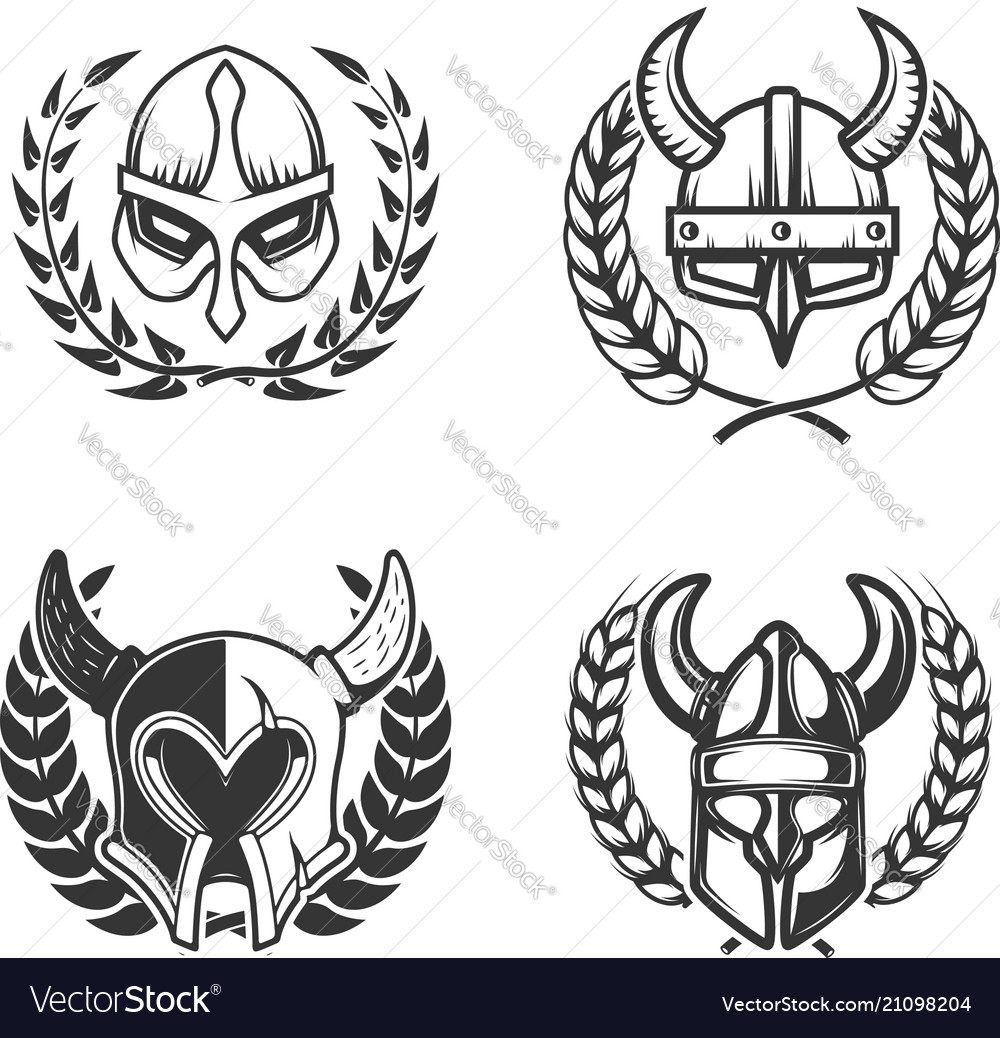 Set of emblems with medieval helmets and wreaths