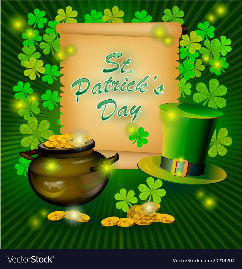 St Patricks Day Greeting Happy St Patricks Vector Image