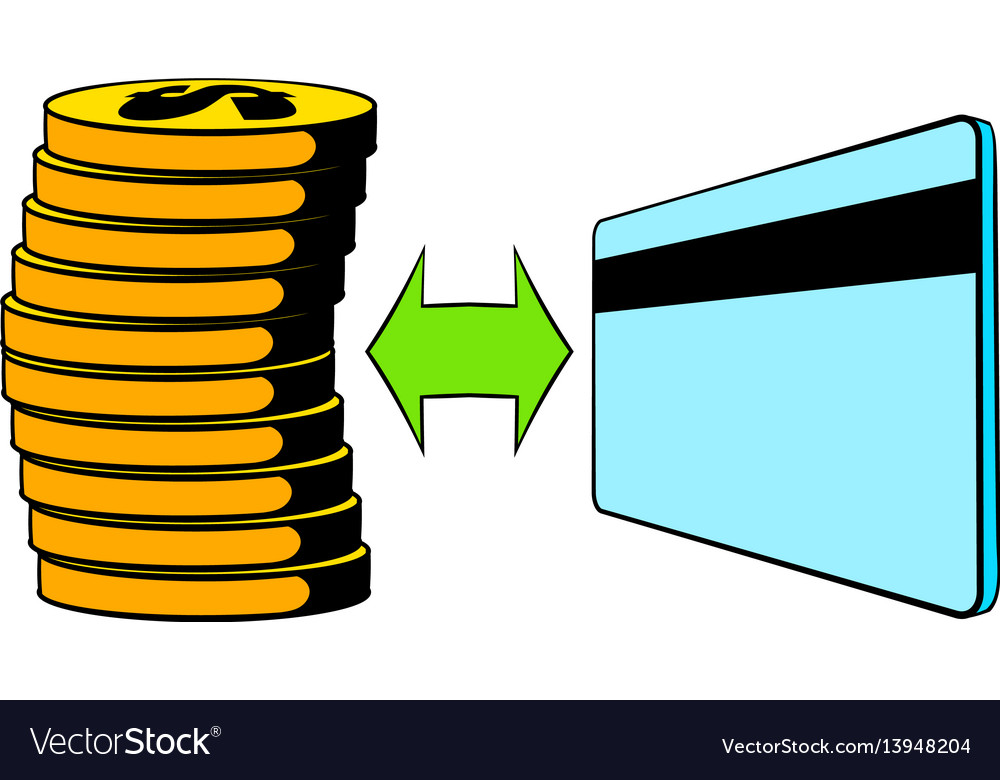 Transfer of cash to card icon cartoon