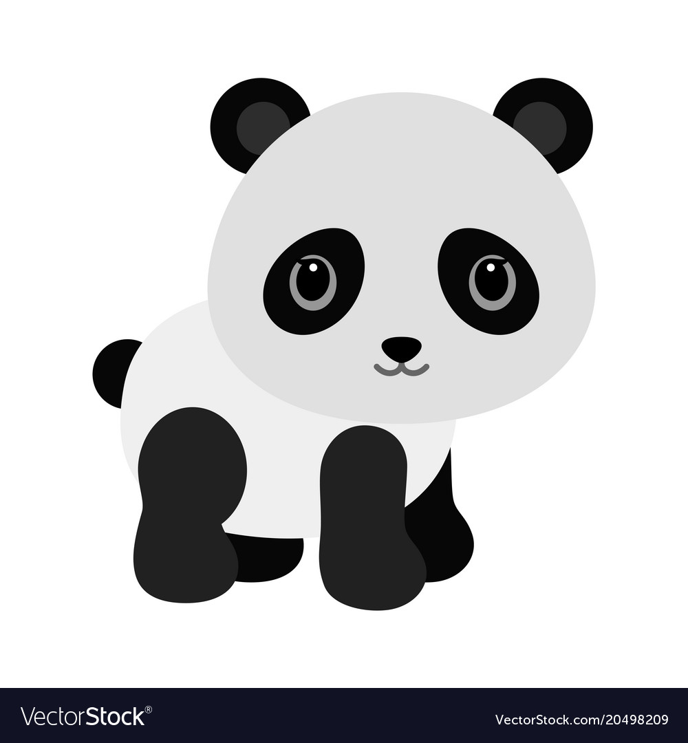 Adorable baby panda in flat style
