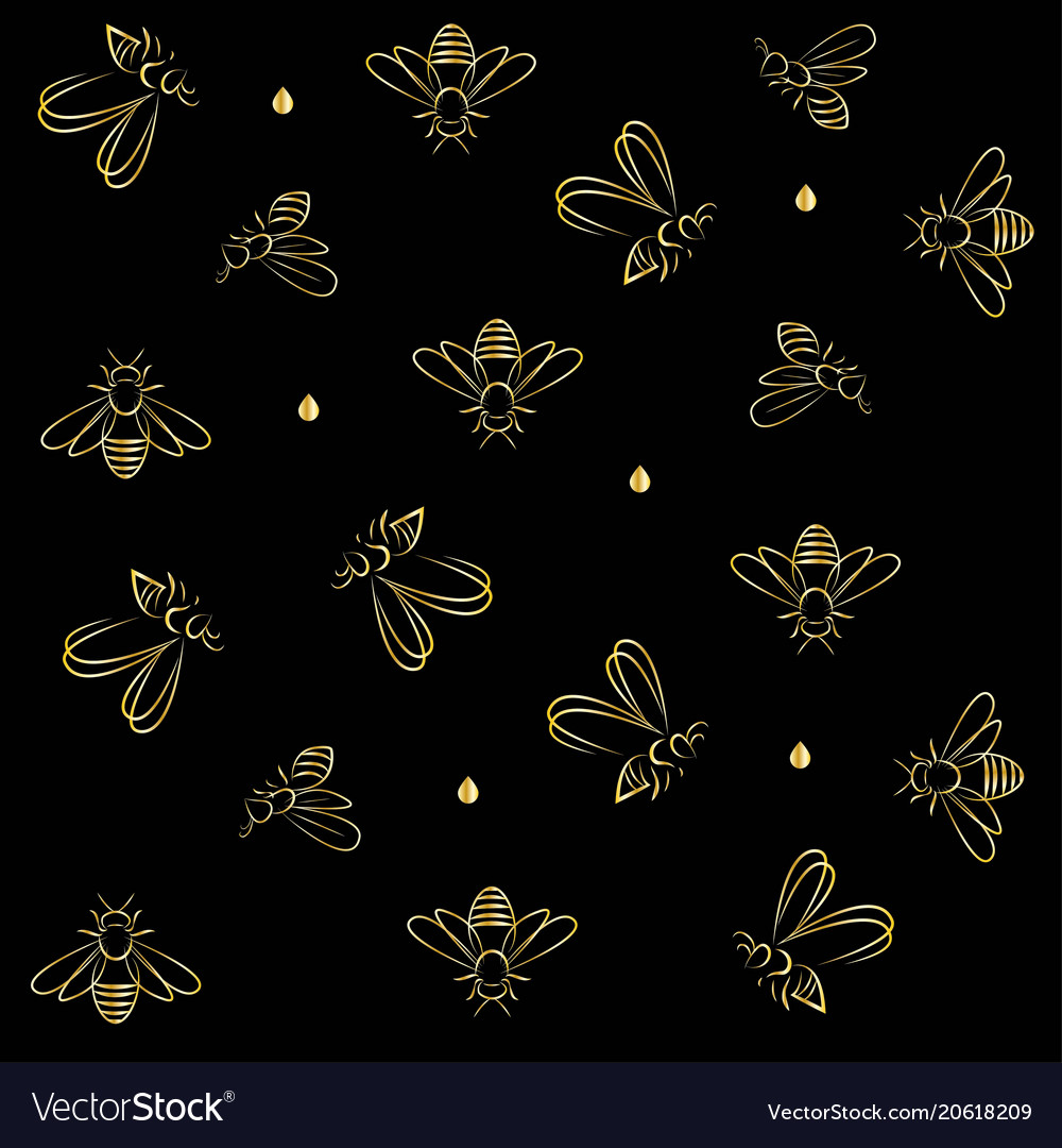 Bees and outline in gold on black background