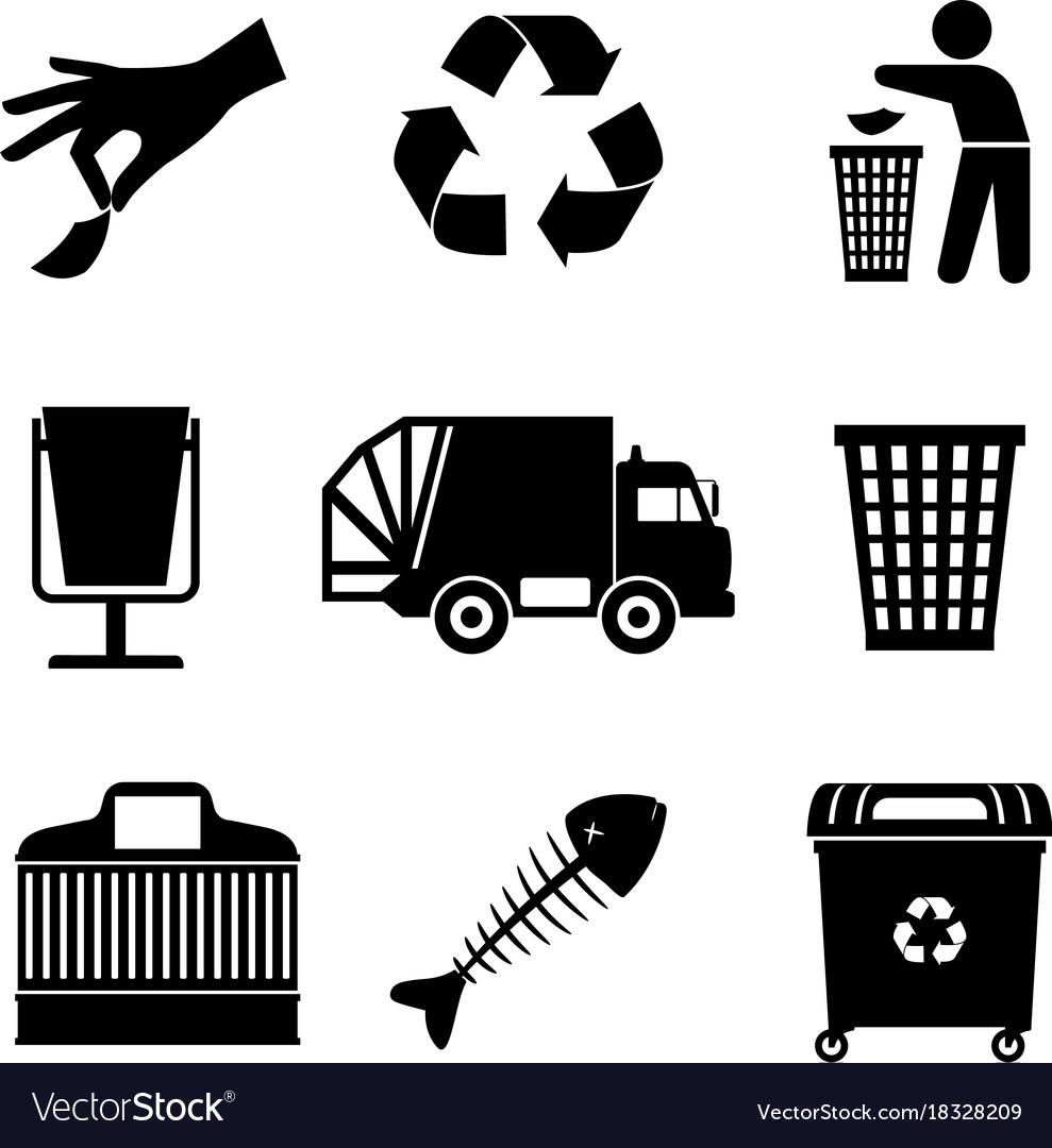 Black garbage icons