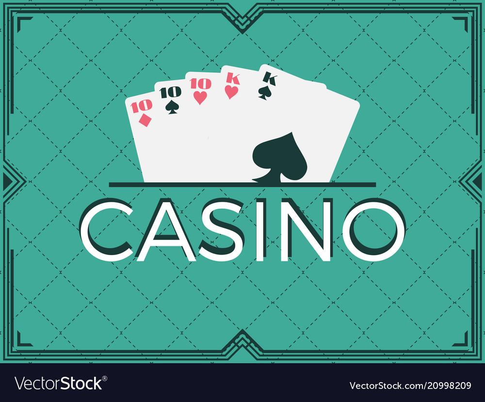 Casino poker game full house art deco frame
