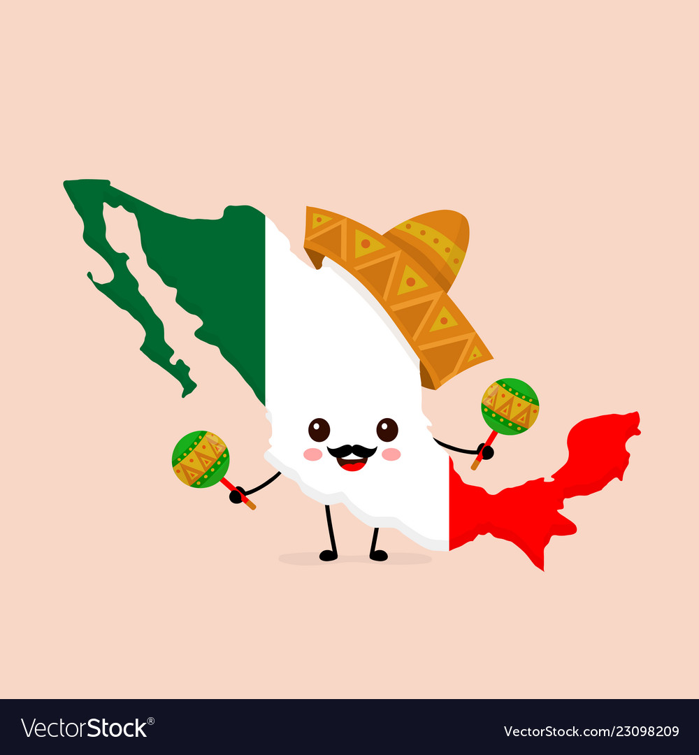 Cute funny smiling happy mexico map