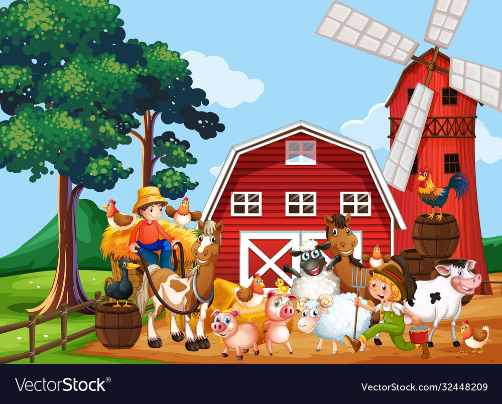 Farm in nature scene with windmill and barn and