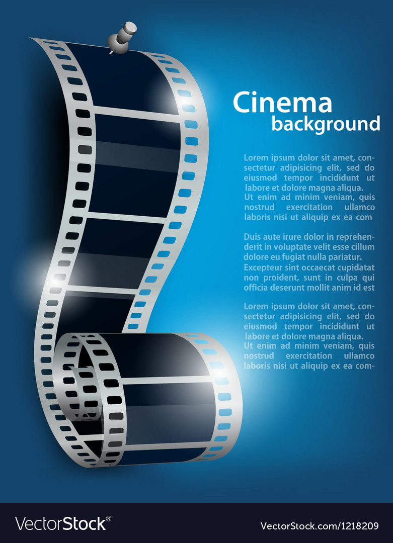 Film Reel On Blue Background Royalty Free Vector Image