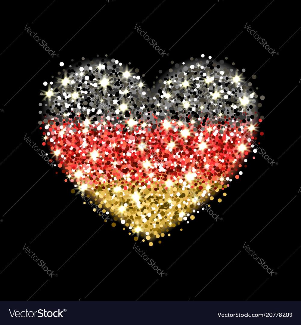 Germany flag sparkling heart badge