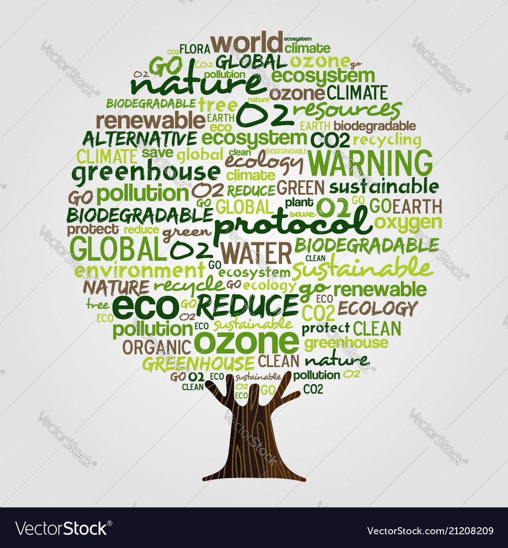 Green tree made of eco friendly text quotes