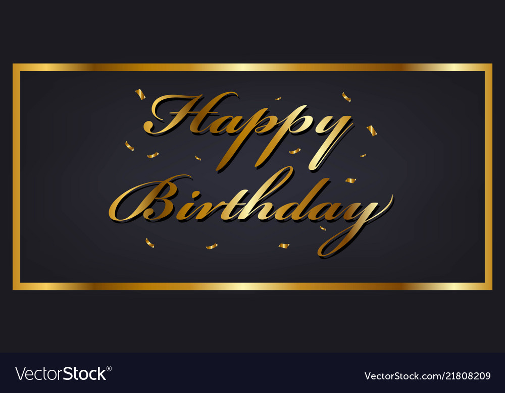 Happy birthday banner template with golden