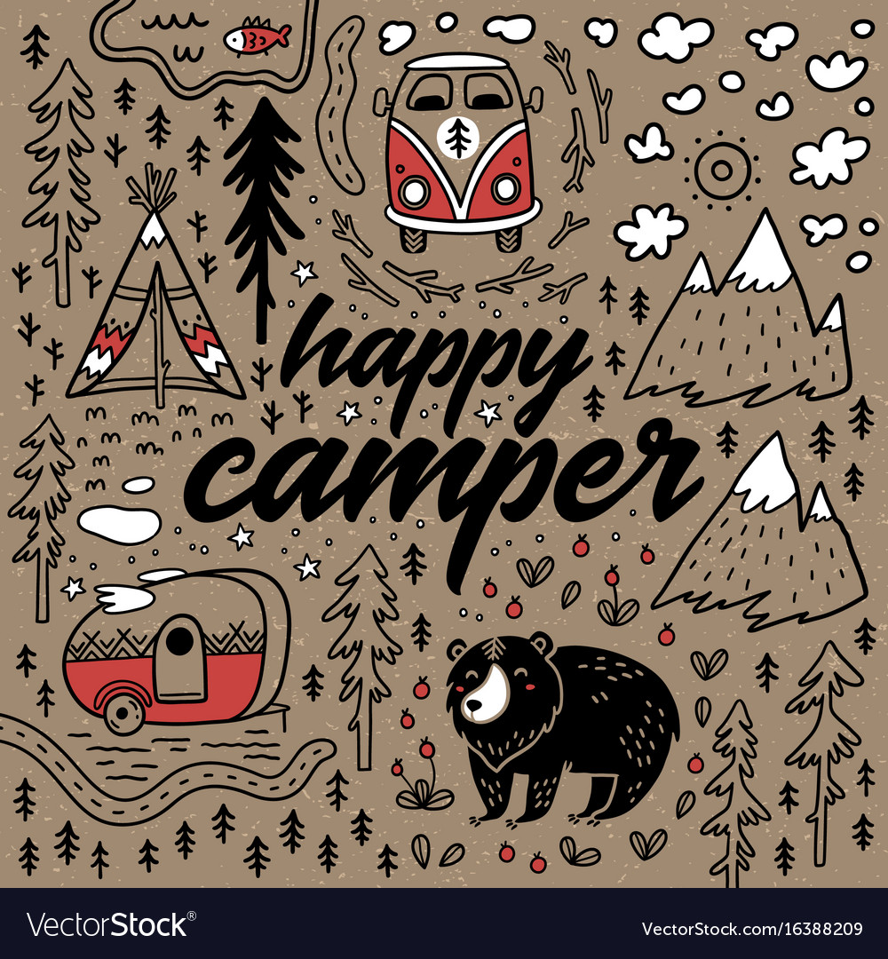 Happy camper hand drawn card cartoon
