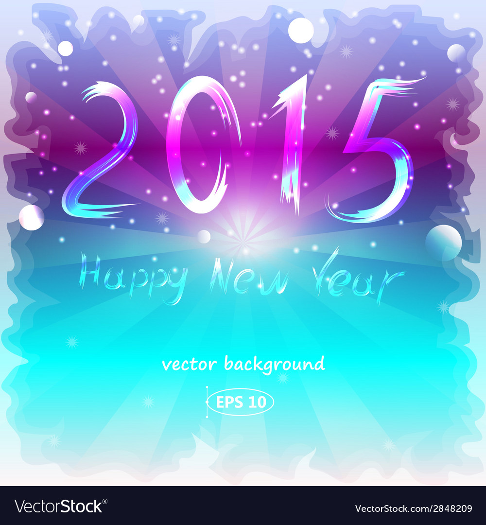 happy new year background with a frozen glass vector image