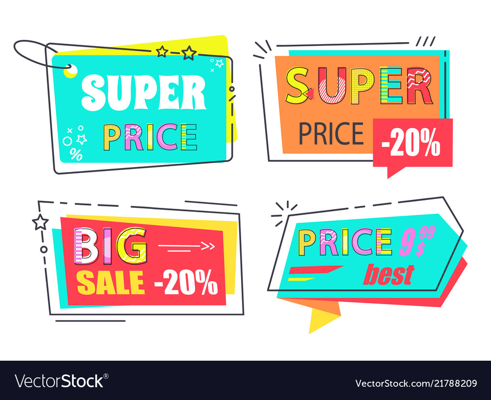 Sale tags icons arrows and rectangle square