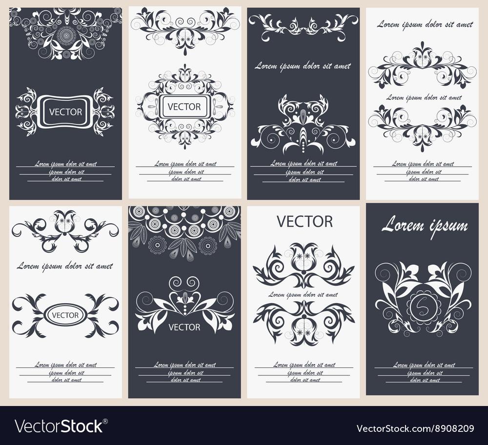 Set flyer design template elegant frame monogram vector image