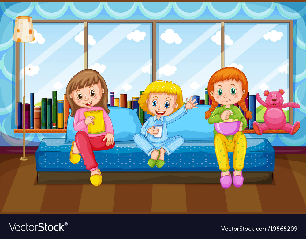 Three Girls Eating And Drinking In Bedroom Vector Image