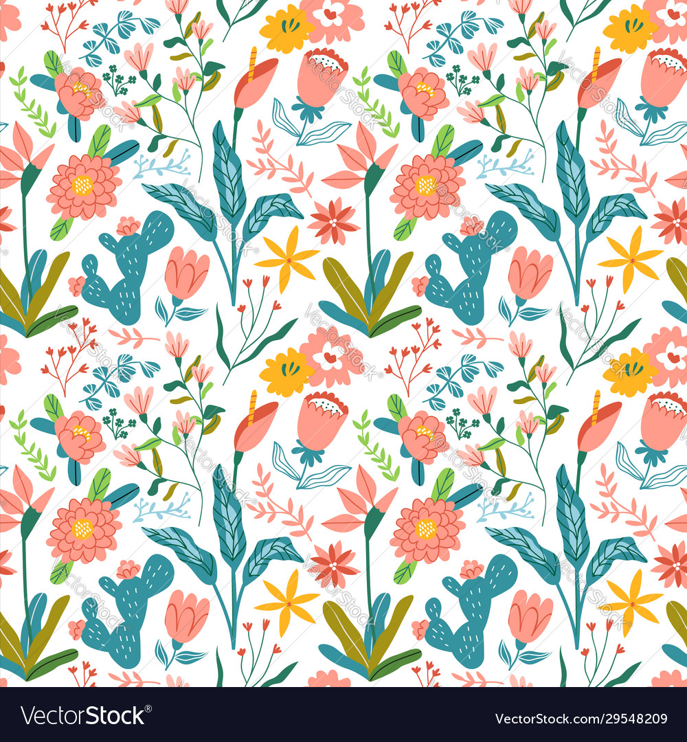 Vintage hand drawn flower seamless pattern