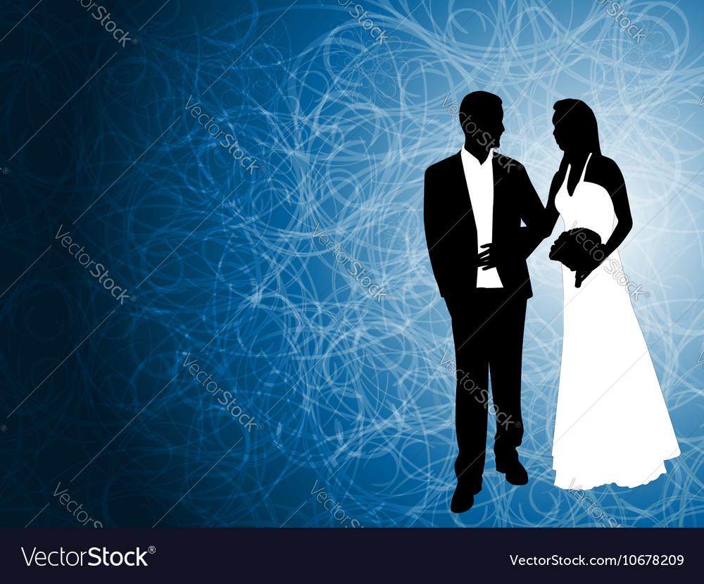 Wedding couple blue background