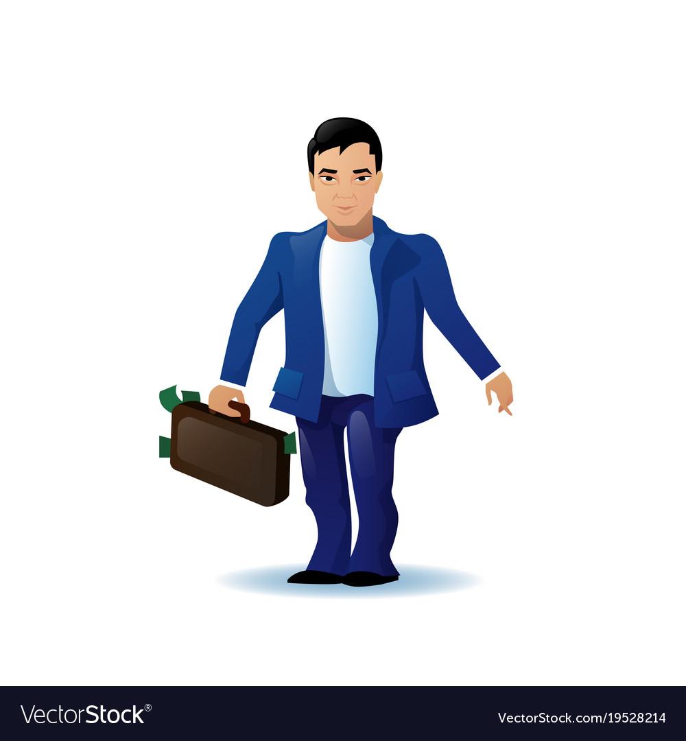 Asian business man cartoon character run holding