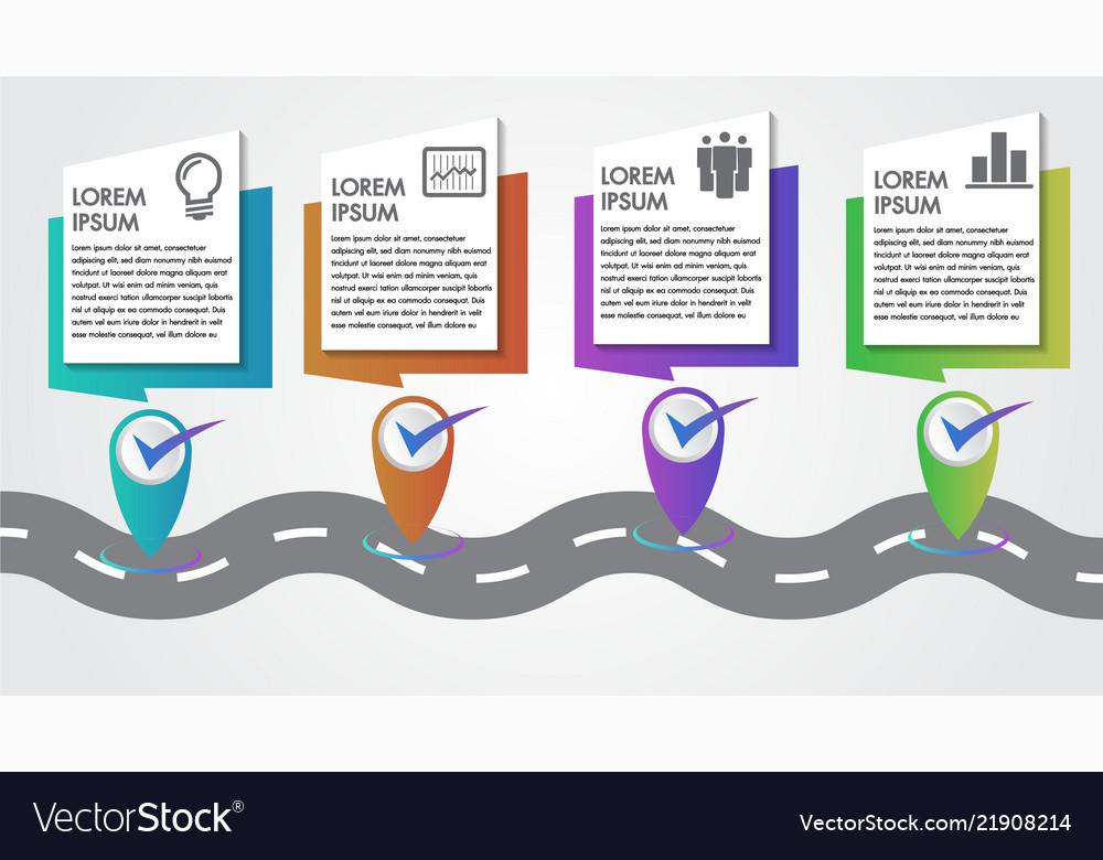 Business infographics 4 steps road map on company mission, company leadership, company registration, company goals, strategy map, company gardens map, company resources, company management, company department map, company art,