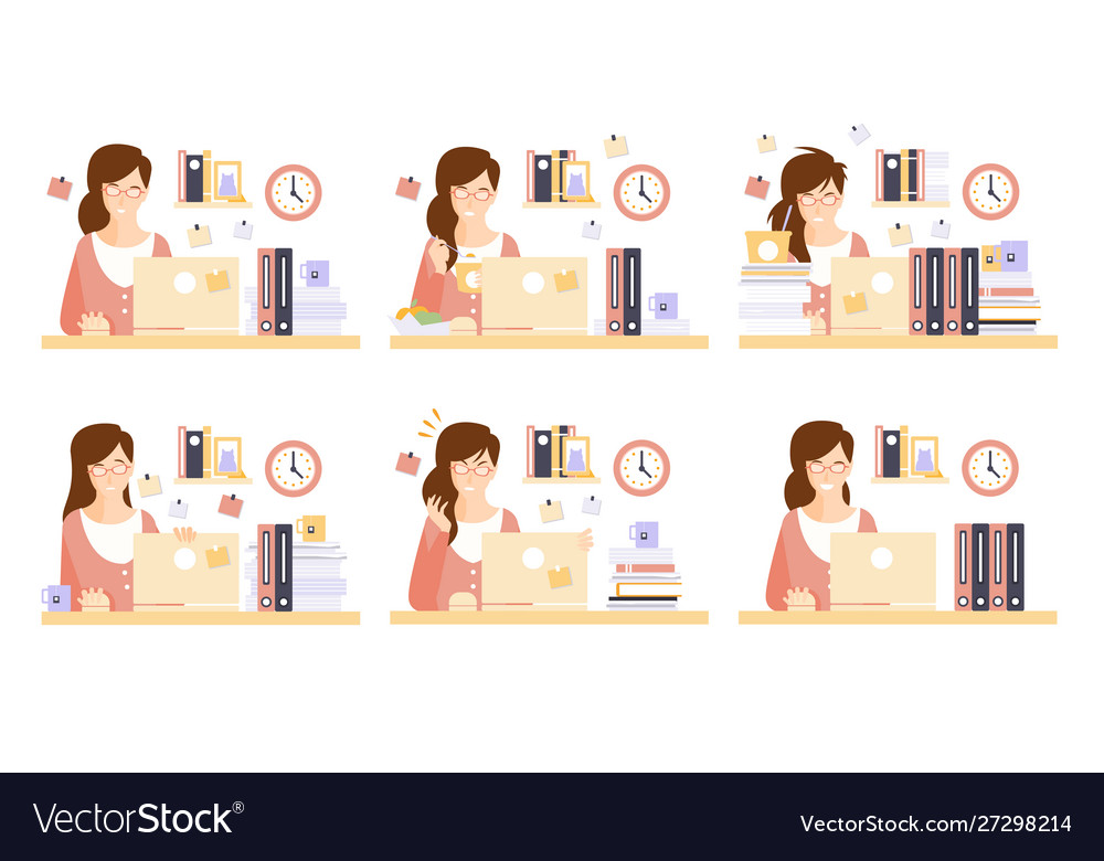Businesswoman in workplace set female office