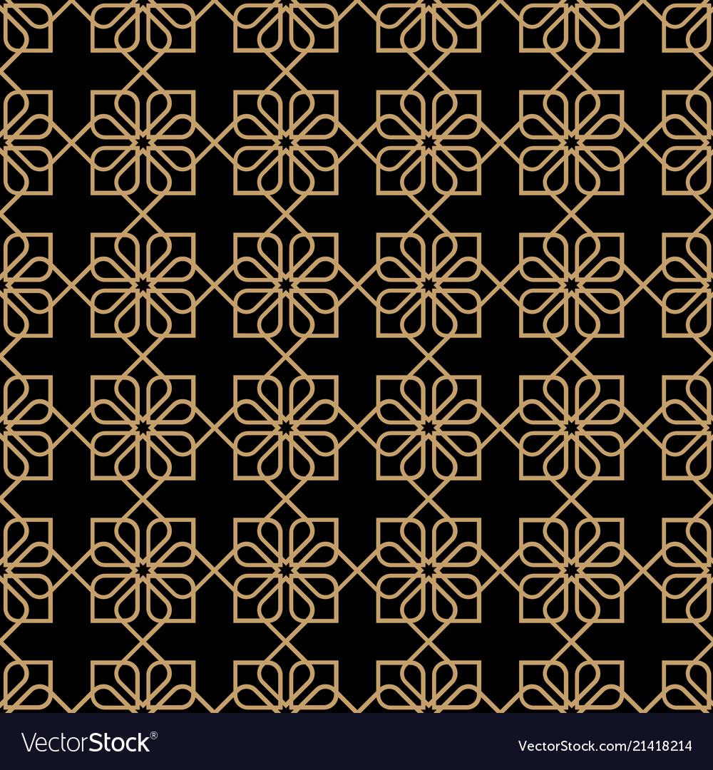Geometric dark seamless flower pattern in