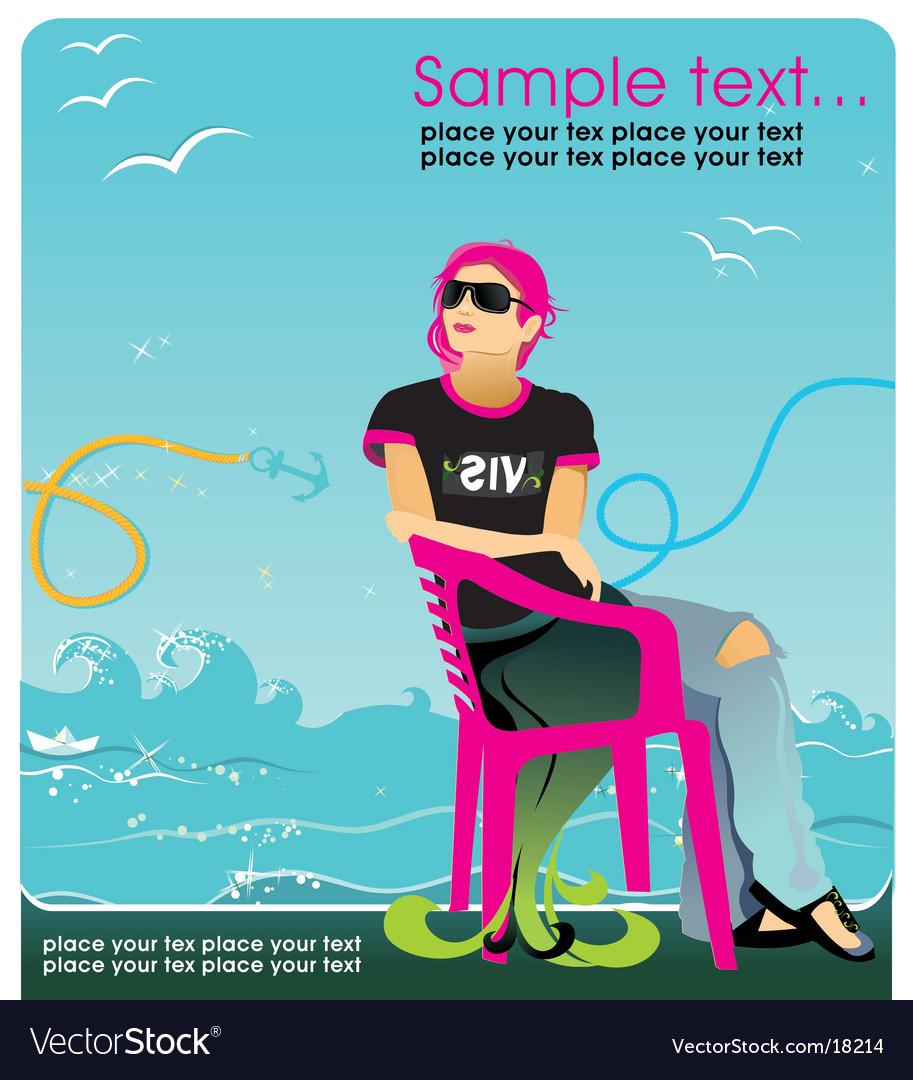 background wallpaper girl. Vector girl sitting in the chair. Keywords: girl background wallpaper sexy