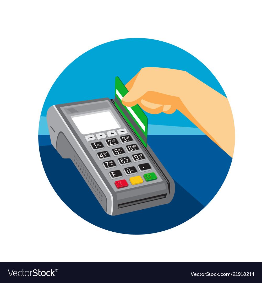 Hand swiping credit card on pos terminal retro