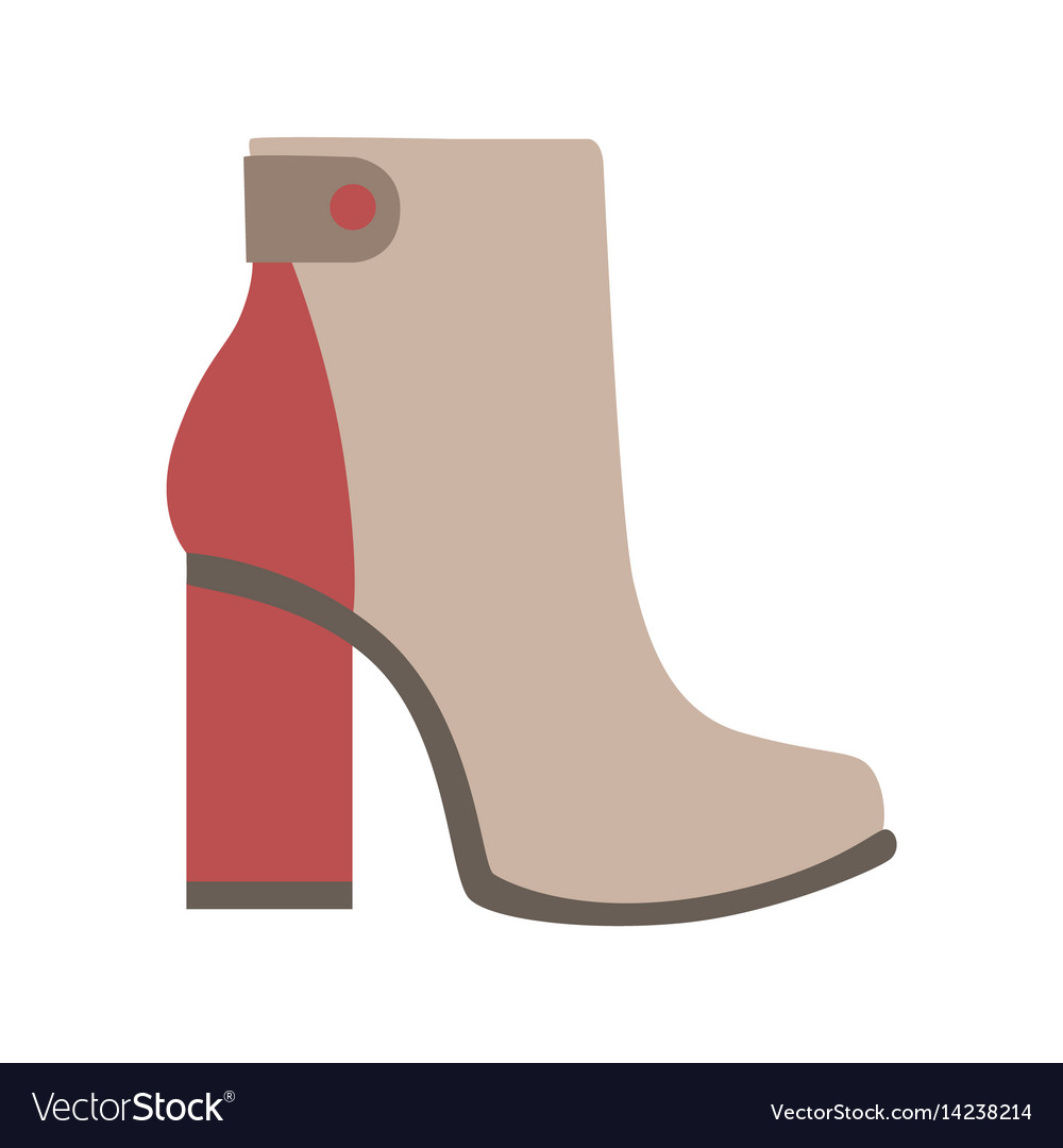 High sturdy heel red and grey female boot