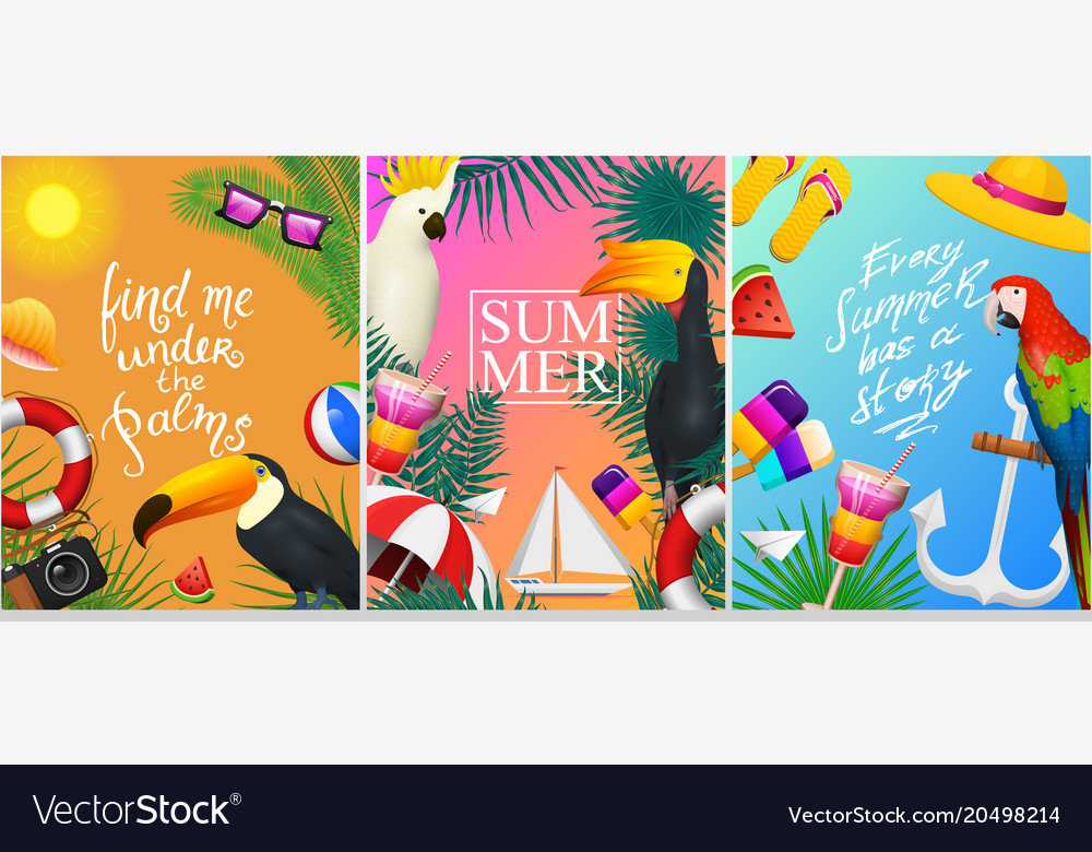 Nautical summer cards marine vacation on the